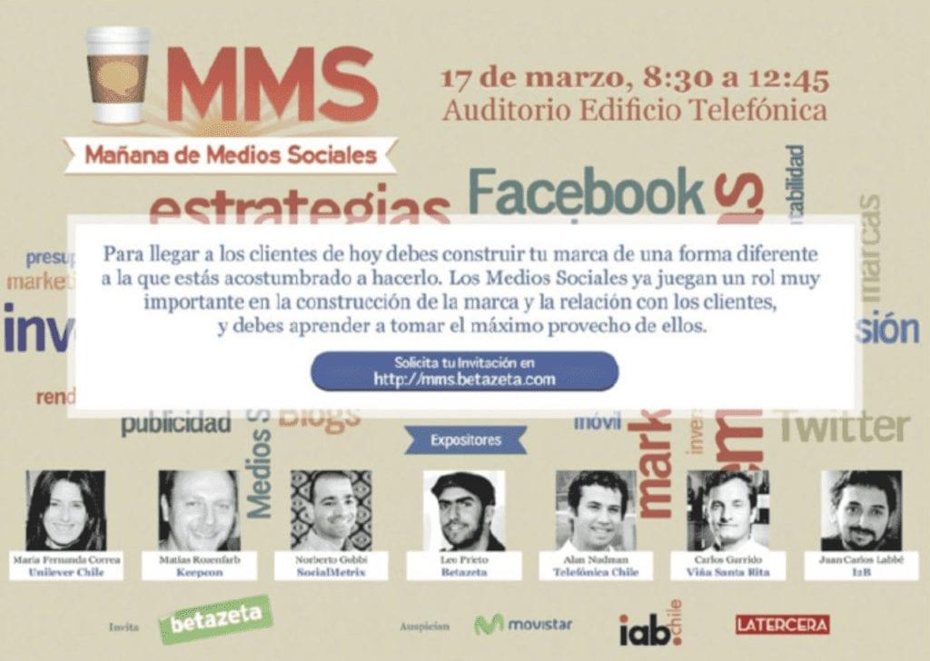 Anuncio prensa participación Juan Carlos Labbé en MMS Charla sobre Medios Sociales